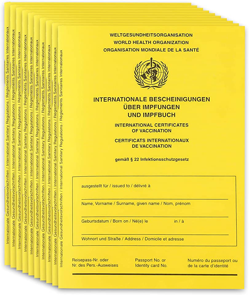 10x Original 2021 Impfpass Impfausweis Impfbuch international - inkl. Covid-19 Seite + WallTrust RFID Schutzhülle