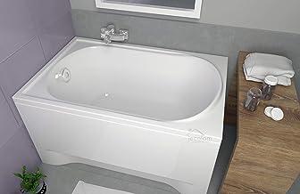 130 x 75 cm ECOLAM Badewanne Sitzbadewanne Wanne Rechteck Acryl wei/ß Wivea 130x75 cm und /Überlauf Automatik F/ü/ße Silikon Komplett-Set Sch/ürze Ablaufgarnitur Ab