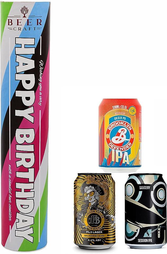 Happy Birthday Craft Beer Canister Hamper | 3 British Craft Beers | Presentation Box