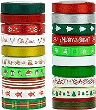 """VATIN 20 Rolls 110 Yards Christmas Ribbons Printed Grosgrain Ribbon Polyester Satin Ribbon Sheer Organze Ribbon 3/8"""" Wide ..."""