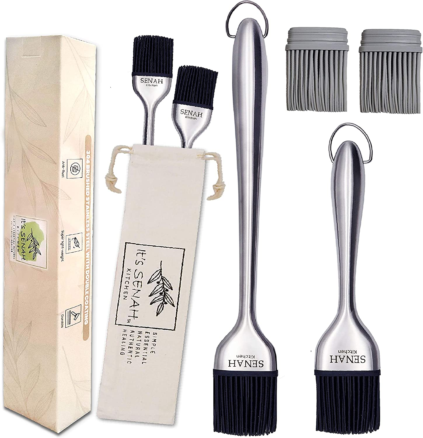 It's Senah | New 7pcs Bundle | 304-Stainless Steel BBQ Grill Basting Brush with 100% Natural, DUST-Free Cotton Storage Bag, Easy Grip Handle Oil Brush, Anti-Rush Baking, Pastry Cooking Brushes