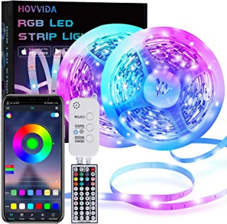 20M LED Strip, HOVVIDA Bluetooth Muziek LED-strip voor Kamer, Aangestuurd door APP, IR-afstandsbediening en Controller, 16...