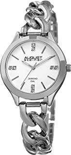 August Steiner Women's Genuine Diamond Watch - 8 Genuine Diamond Hour Markers Chain Link Bracelet - AS8222