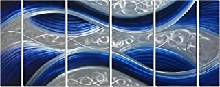 Handcrafted Abstract Metal Wall Art with Soft Color, Large Scale Decor in Huge Blue Line Design, 3D Artwork for Indoor Outdoor Wall Decorations, 6-Panels Metal Art Measure 24