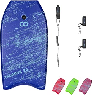 WOOWAVE Bodyboard 33-inch/36-inch/41-inch Super Lightweight Body Board with Premium Coiled Wrist Leash, Swim Fin Tethers, EPS Core and Slick Bottom, Perfect Surfing for Kids Teens and Adults