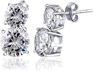 White Cubic Zirconia 22.55 Ct Round 925 Sterling Silver Stud Earrings Valentine's Presents For Girls And Women By Orchid J...