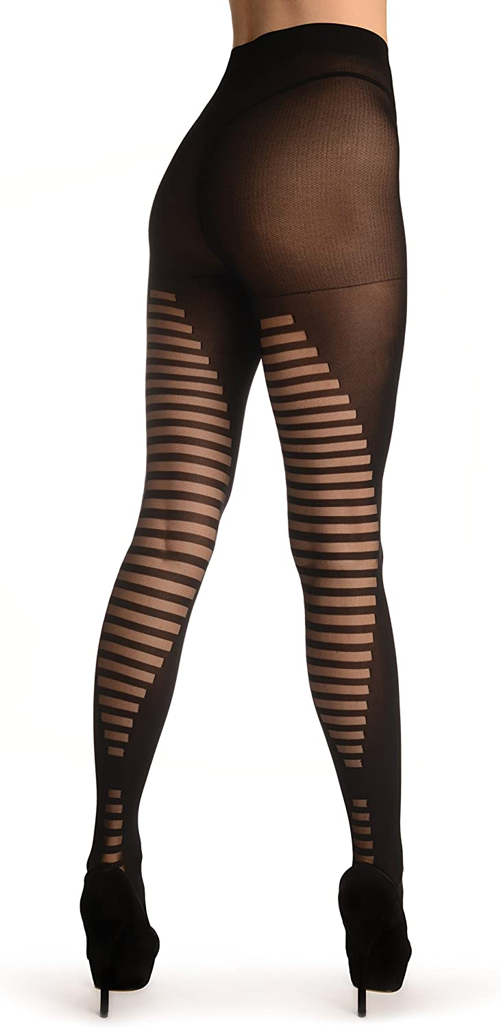 Black With Striped Panels At The Back - Pantyhose (Tights)