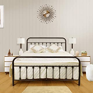 Ambee21 - Queen Platform Metal Bed Frame with Headboard & Footboard: Bronze, Wrought Iron, Vintage Victorian Style – Mattress Foundation, No Box Spring Required, Under Bed Storage, Steel Slat
