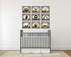 Saint & Sailor Studios Sports Themed Photography Prints Artwork 9 Set   Handmade, Vintage & Unique Home Décor Collage Pictures   For Nursery, Living Room, Study Room, Office, Man Cave, Walls & More