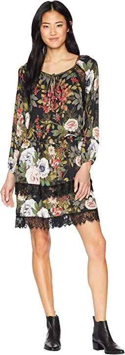 Floral Printed Dress with Lace Trim