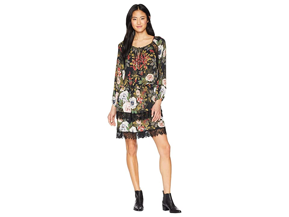 Miss Me Floral Printed Dress with Lace Trim (Black) Women
