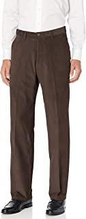 Haggar Men's Corduroy Classic Fit Flat Front Expandable Waistband Pant