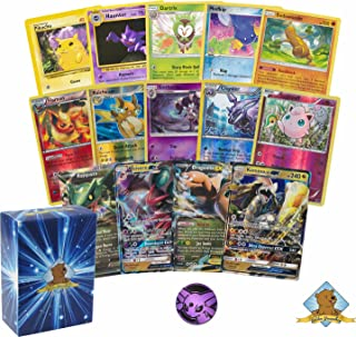 Golden Groundhog 50 Pokemon Card Lot with a GX Dragon Type Pokemon and an EX Dragon Type Pokemon! Comes with Foils and A Coin! Includes A Deck Box!