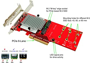 Ableconn PEXM2-130 Dual PCIe NVMe M.2 SSDs Carrier Adapter Card - PCI Express 3.0 x8 Card Support 2X M.2 NGFF PCIe NVMe SSD (ASMedia ASM2824 Chipset) - Support Non-Bifurcation Motherboard