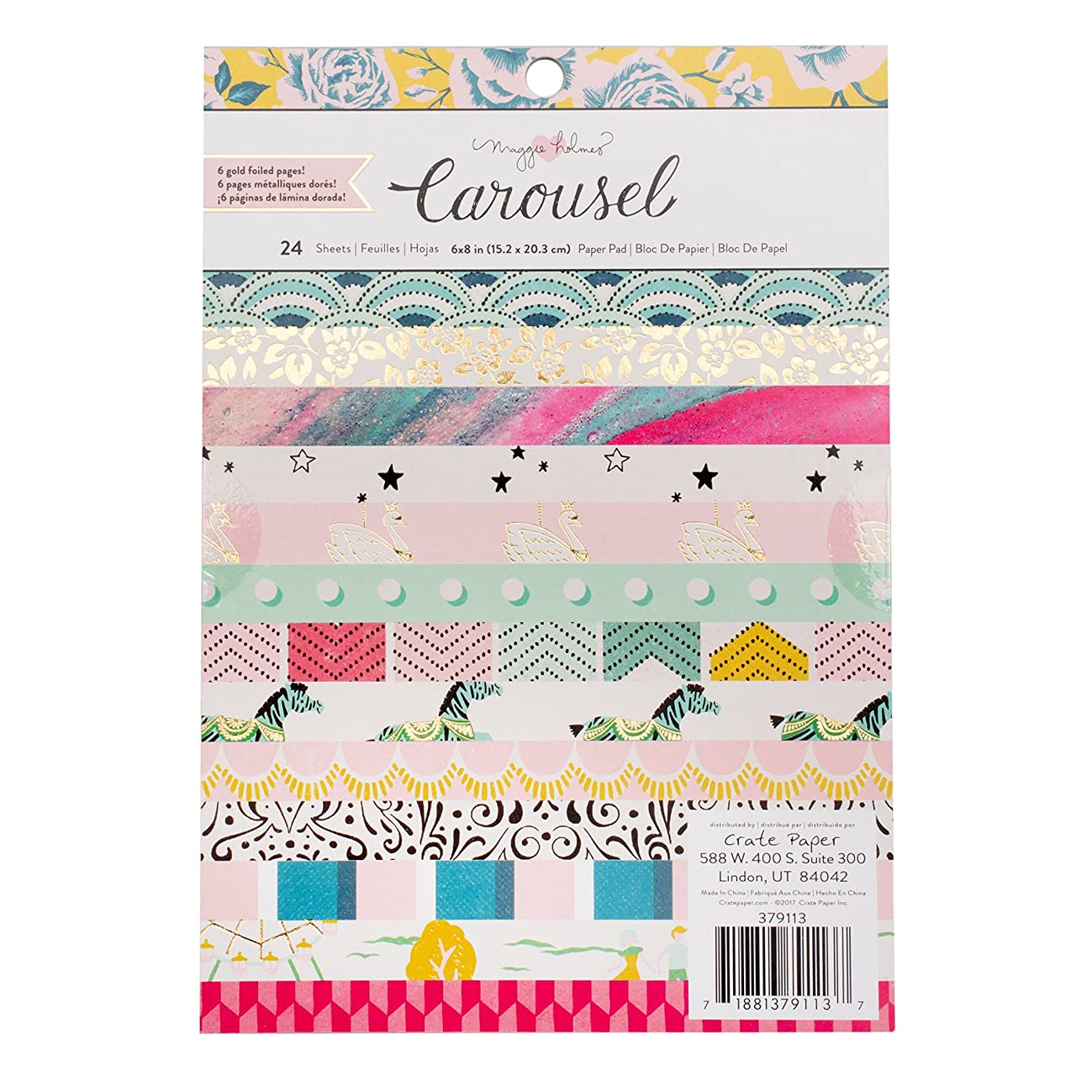 American Crafts Maggie Holmes Carousel 24 Sheet 6 x 8 Inch Paper Pad Gold Foil