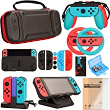 Switch Accessories Bundle for Nintendo Switch Games, Kit with Carrying Case, Steering Wheels, Screen Protectors, Charging ...
