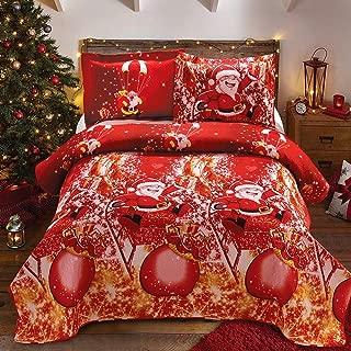 Christmas Bedding Santa Claus 3pc King Quilts 108