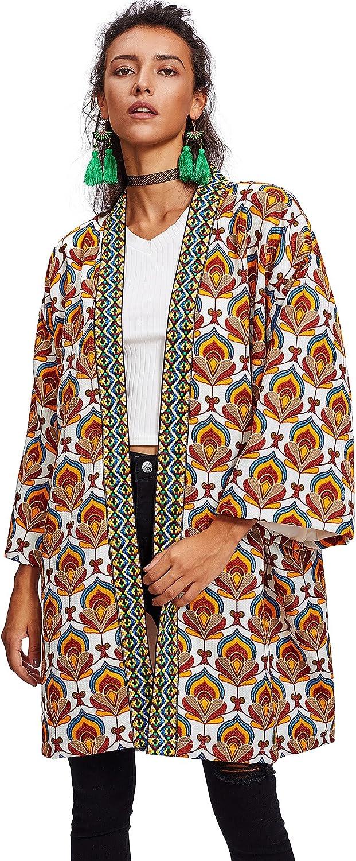 Floerns Women's Open Front Tribal Print Cardigan Thin Coat