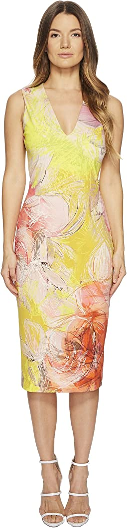 FUZZI - Sleeveless V-Neck Dress Close Botanic