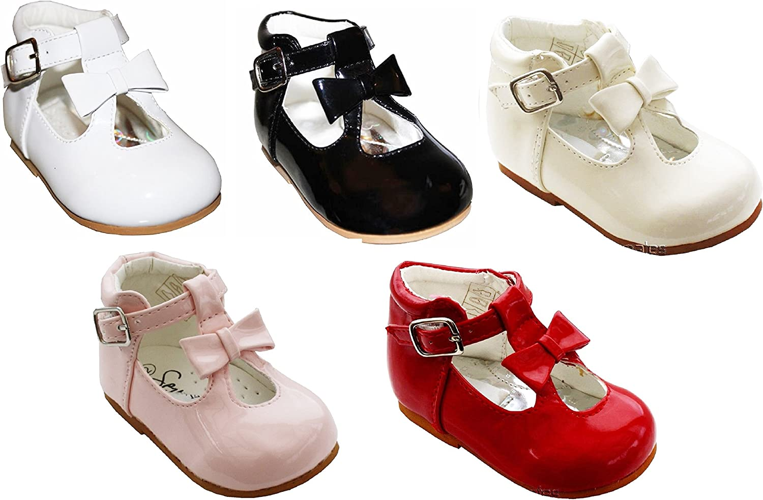 KIDS BABY GIRLS INFANTS T-BAR SPANISH FLAT WEDDING PARTY PATENT TODDLER SHOES4-8