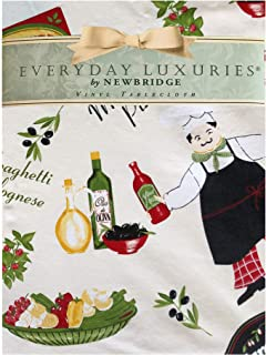 """Newbridge Italian Bistro Chef Vinyl Flannel Backed Tablecloth – Novelty Chef Indoor/Outdoor Picnic, BBQ and Dining Tablecloth - 70"""" Round"""