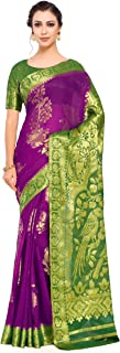 Art Chiffon Silk Wedding Saree Kanjivarm Pattu Style with Contrast Color: Purple (4253-2239-2D-MEJ-GRN)