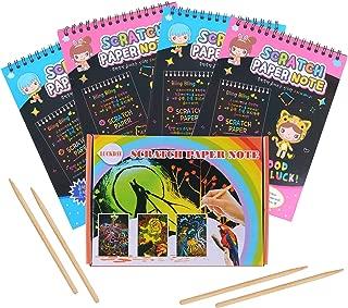 LUCKDAY Manualidades para Niños, Manualidades para Rascar Scratch Art 4 Cuadernos para Dibujar Papel de Rascar Incluye 4 Lápices de Madera