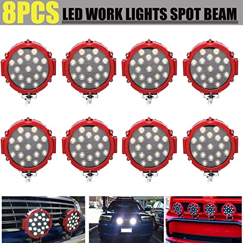 lowest Pack-8 LED Work Light Red Round Spot Beam 6000K Cool White 51W Waterproof Lamps for Off-road Truck ATV SUV outlet sale Tractor Boat Outdoor lowest Lighting Strong Quality, 2 Year Warranty online