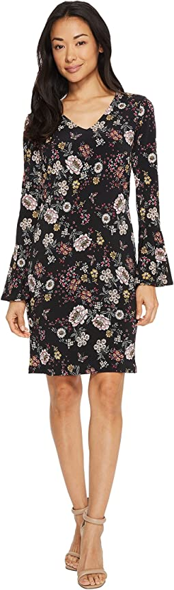 Karen Kane - V-Neck Bell Sleeve Dress
