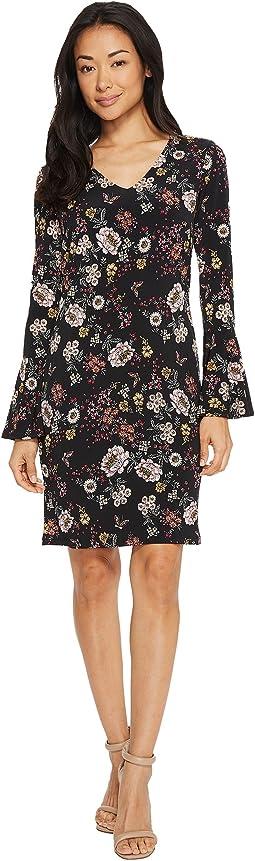 V-Neck Bell Sleeve Dress