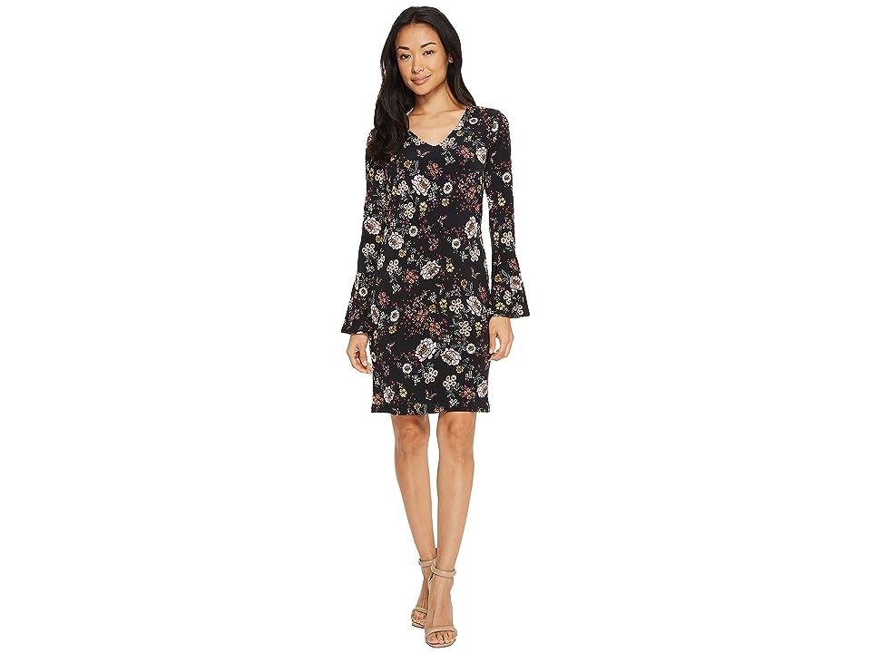 Karen Kane V-Neck Bell Sleeve Dress (Floral) Women