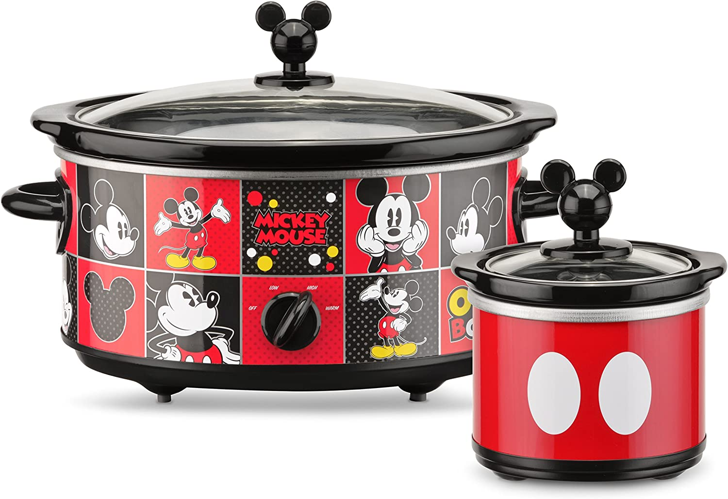 Disney DCM-502 Mickey Mouse Oval Slow Cooker with 20-Ounce Dipper, 5-Quart, Red Black