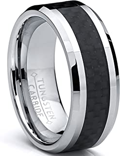 8MM Men`s Tungsten Carbide Ring Wedding Band W/Carbon Fiber Inaly Sizes 5 to 15