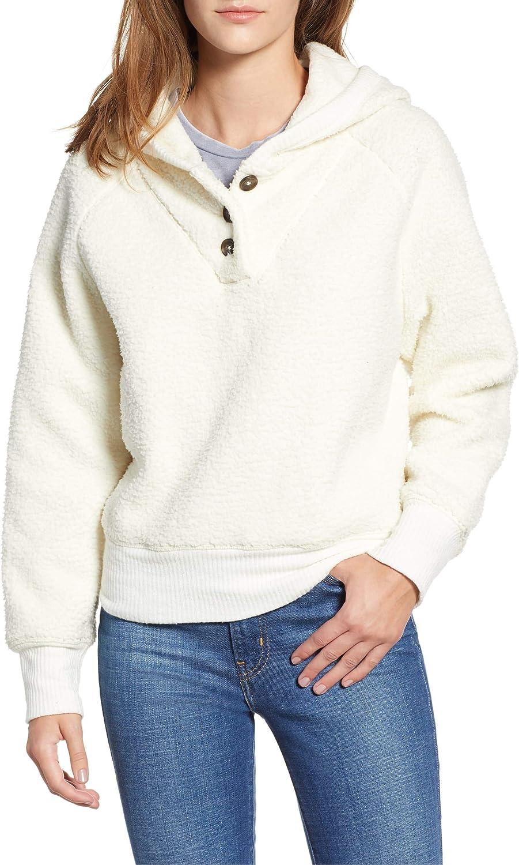 Lucky Brand Women's Button-Neck Fleece Hoodie