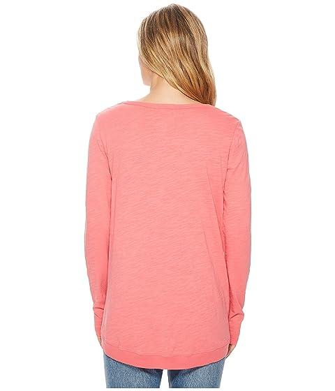 Jersey manga camiseta costura larga o Red paso doc delantera Faded Slub dobladillo Mod aqWf14c
