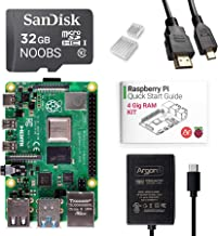 Argon x Raspberry Pi 4 Kit (4 Gig) | Barebones | Pre-Installed with Noobs | Includes Micro HDMI to HDMI Cable, Type-C Power Supply, and Quick Start Guide for Raspberry Pi 4