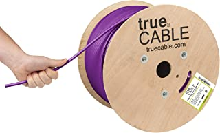 trueCABLE Cat6A Shielded Riser (CMR), 1000ft, Purple, 23AWG Solid Bare Copper, 750MHz, ETL Listed, Overall Foil Shield (FTP), Bulk Ethernet Cable