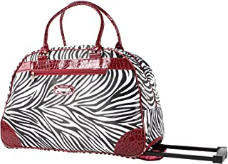 Luggage 22 Inch Rolling Carry On Printed Wheeled Duffel (One Size, Red Trim Zebra)