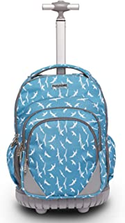 18 inches Multifunction Waterproof Wheeled Rolling Laptop Backpack for Girls and Boys School Books Bag by HollyHOME, Light Blue Seagull