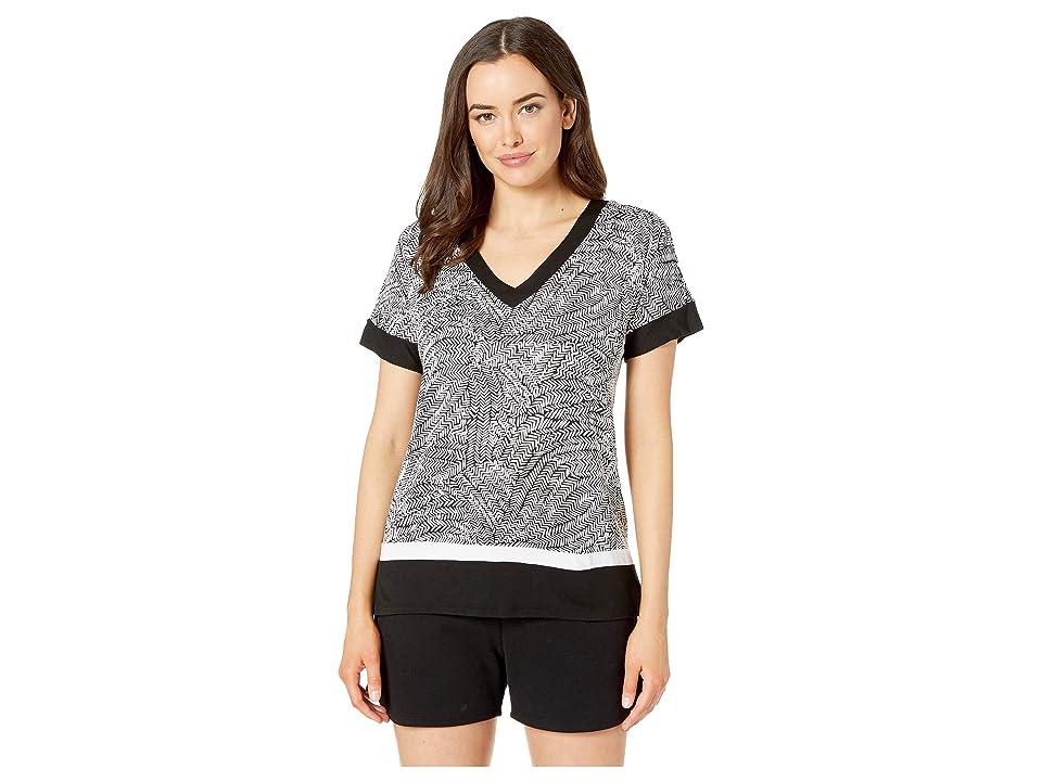 Donna Karan Short Sleeve V-Neck Tee (Black Print) Women