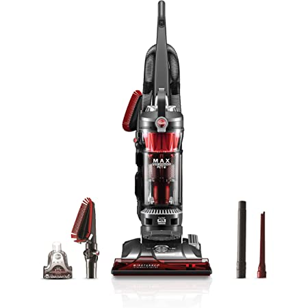 Hoover WindTunnel 3 Max Performance Pet, Bagless Upright Vacuum Cleaner, HEPA Media Filtration, For Carpet and Hard Floor, UH72625, Red