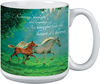 Horse Lover Extra Large Mug, 20-Ounce Jumbo Ceramic Coffee Cup, Courage, Strength, Loyalty Themed Horses - Horse Gift Tre...