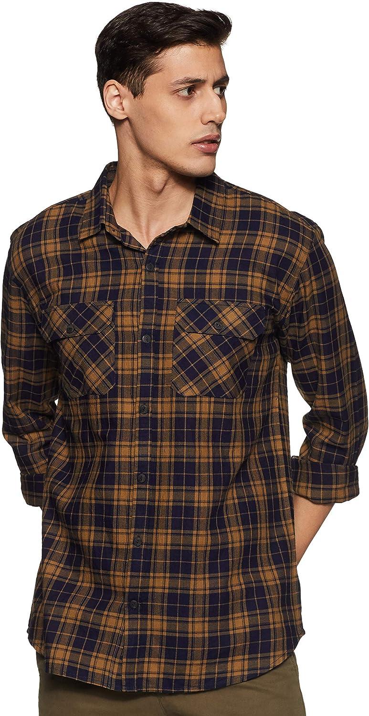 Men's Vintage Clothing | Retro Clothing for Men Stylore Mens Regular-Fit Long-Sleeve Button Down Plaid Casual Shirt  AT vintagedancer.com