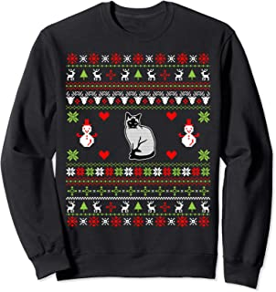 Christmas Gifts For Cat Lovers Siamese Cat Ugly Christmas Sweatshirt