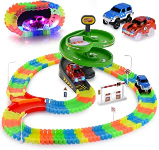 Glow Race Tracks Set – Compatible with Magic Tracks Too – 144 Pieces with 2 Light Up Toy Cars – Flexible and Bendable DIY Fun Glow in The Dark Racing Toy – Interactive STEM Toy – for Girls and Boys
