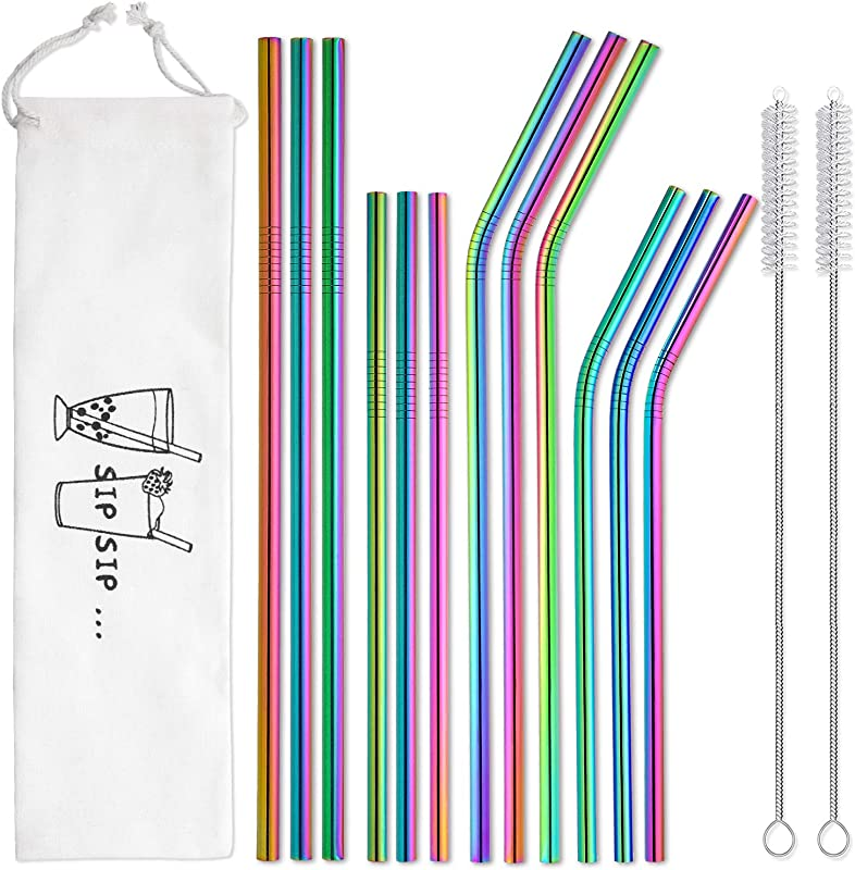 Reusable Metal Straws Rainbow Color With Travel Case Hiware 12 Pack Stainless Steel Drinking Straws For 30oz 20oz Tumblers Dishwasher Safe 2 Cleaning Brushes Included