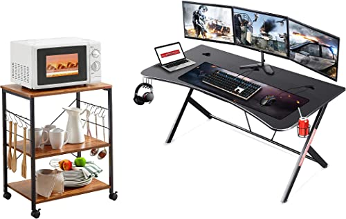 """discount Mr IRONSTONE Kitchen Microwave Cart 3-Tier Kitchen Utility Cart Vintage Rolling Bakers outlet sale Rack with 10 Hooks for Living Room Decoration & Large Gaming Desk 63"""" sale W x 32"""" D Home Office Computer Table outlet online sale"""