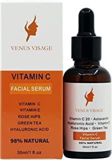Venus Visage Vitamin C Serum for Face 20% with Hyaluronic Acid and Vitamin E, Anti Aging Collagen Booster, Natural Organic Skin Care for Acne Scars, Wrinkles, Fades Dark, Age Spot, Sun Damage
