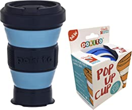 Pokito Pop Up Cup 475ml Pocket-Sized Reusable and Travel Mug - One Mug Pops to Three Sizes - Screw-top, Spill-Proof Lid, Built-in Insulation, Marine/Midnight, DLE0056BL