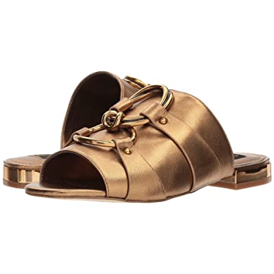 Donna Karan Rae Slide (Antique Gold Metallic Nappa) Women